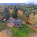 Aerial photograph of Glenmuick Estate's Ballintober self catering cottage.